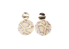 Brown snake statement earring - gold