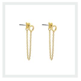 Circle chain long earring - gold