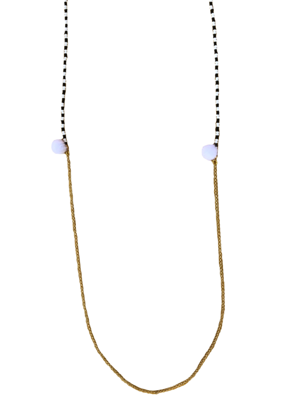 Black and white sunglasses cord - gold