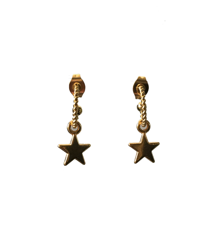 Twisted gold star earring - gold