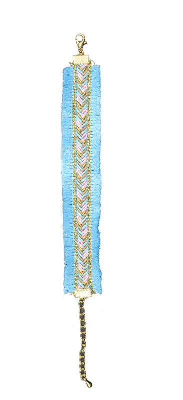 Ibiza style bracelet blue - gold