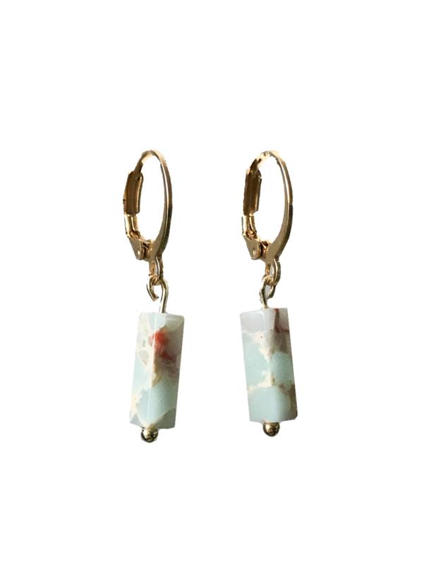 Mint stone earring - gold