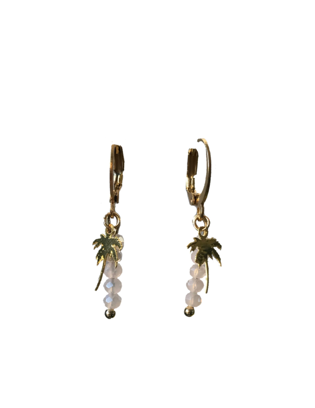 Palm tree pink earring - gold