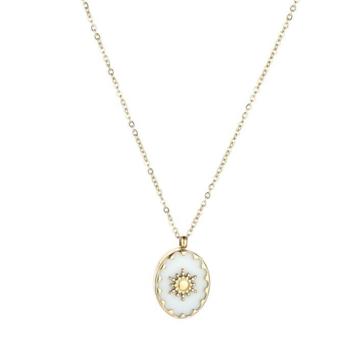 Sun black necklace - gold
