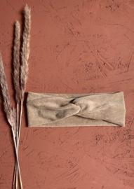 Haarband zand kleur - terry stretch (badstof)