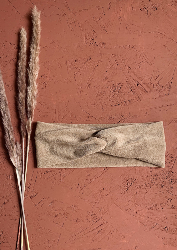 Haarband kleur zand - terry stretch (badstof) kids