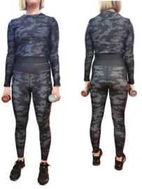 Army black-grey legging + top