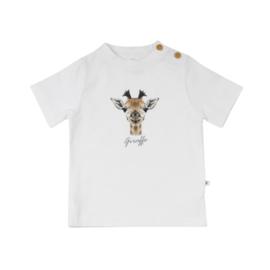Ducky Beau T-shirt Bright White Giraffe maat 74, 80 en 86