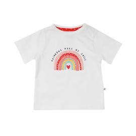 Ducky Beau T-shirt Bright White regenboog maat 68, 74 en 86