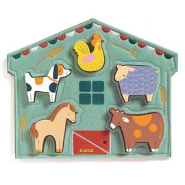 Reliëf puzzel Mowy boerderijdieren - Djeco