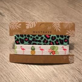 Haarelastiek/armband flamingo/dierenprint groen roze