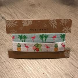 Haarelastiek/armbandje flamingo-palmbomen