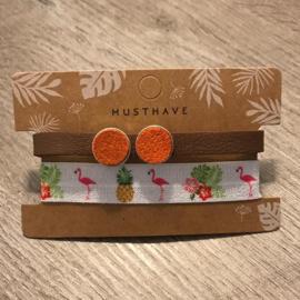 Dq leren armband en 2 in 1 elastiek - bruin oranje wit