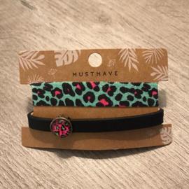 Dq leren armband en 2 in 1 elastiek - roze zwart groen