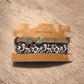 Dq leren armband en 2 in 1 elastiek - zwart/wit bruin grijs