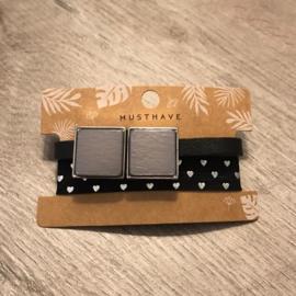 Dq leren armband en 2 in 1 elastiek - zwart/wit grijs