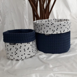 Commode mandje(s) dark jeans/driehoekjes