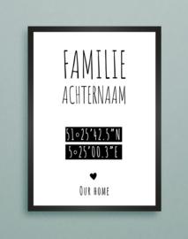 Familie achternaam, coordinaten van woning in A3 fotolijst