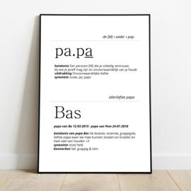 Woordenboek tekst Papa in lijst