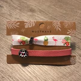 Dq leren armband en 2 in 1 elastiek - roze