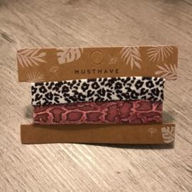 Haarelastiek/armbandje dierenprint oudroze en zwartwit
