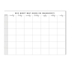 Familieplanner A4 formaat - Wie moet Wat doen en Wanneer?!