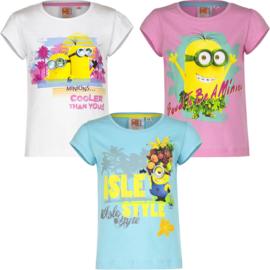 Minions t-shirt voor meisjes 3 t/m 8 jaar - wit - Roze - Lichtblauw