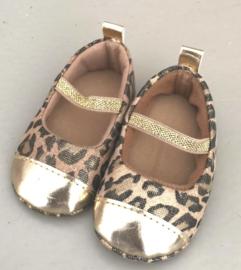Gouden Baby Ballerina's met leuke panterprint - (0-15 maanden) - Baby schoentjes meisje