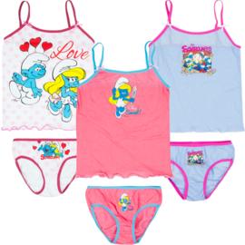Smurfen ondergoedset voor meisjes 2 t/m 8 jaar - lichtblauw / roze / wit