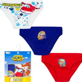 Super Wings ondergoed/slips jongens 3 pack - 2 t/m 8 jaar - Blauw/ Wit / Rood