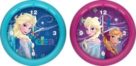 Frozen Disney klok Elsa & Anna - 25,5 cm - roze / lichtblauw
