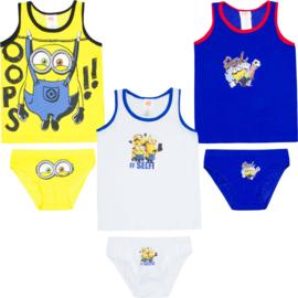 Minions ondergoed set - 2 t/m 8 jaar - blauw / wit / geel
