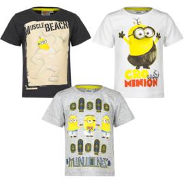 Minions t-shirt voor jongens 3 t/m 8 jaar - wit - zwart - grijs