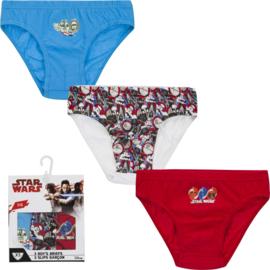 Star Wars ondergoed/slips jongens 3 pack - 2 t/m 8 jaar - Blauw/ Wit / Rood