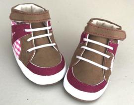Sneakertjes Roze met bruin - (0-15 maanden) - Baby schoentjes meisje