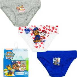Paw Patrol ondergoed/slips jongens 3 pack - 2 t/m 8 jaar -  Grijs/ Wit /Blauw