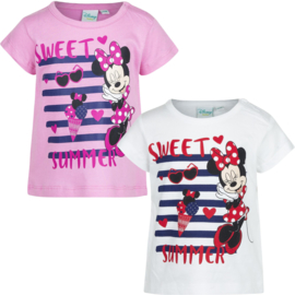 Minnie baby t-shirt  6 t/m 24 maand - Wit, Roze