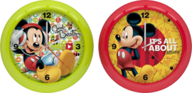 Disney Mickey Mouse klok - 25,5 cm - rood / lichtgroen