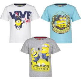 Minions t-shirt voor jongens 3 t/m 8 jaar - wit - grijs - lichtblauw