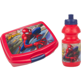 Spiderman plastic fles met lunchbox