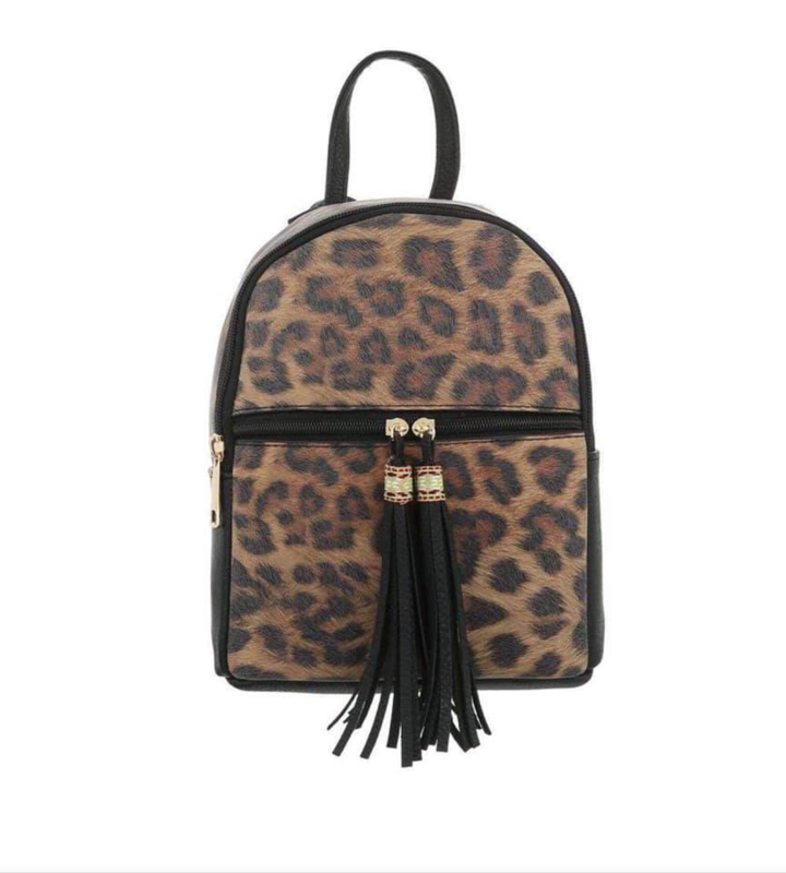 Dames rugzak - rugtas - zwart - Leopard patroon