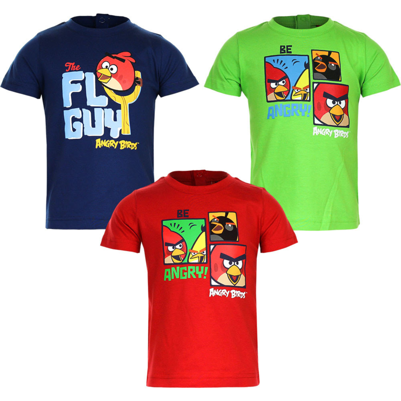 Angry Birds baby t-shirt  6 t/m 23 maanden - Donkerblauw / Groen/ Rood