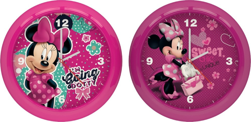 Disney Minnie Mouse klok - 25,5 cm - roze / hardroze
