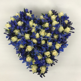 Blauw-wit hart | 50cm