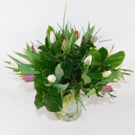 Tulpenboeket Abby roze/wit/paars