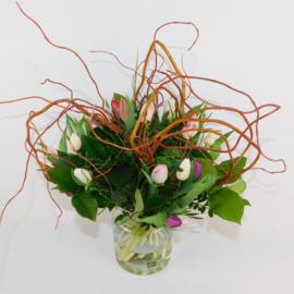 Tulpenboeket Karin roze/wit/paars krultak
