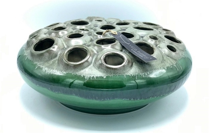 CORAL 1 VASE HOLES GREEN 34X15CM