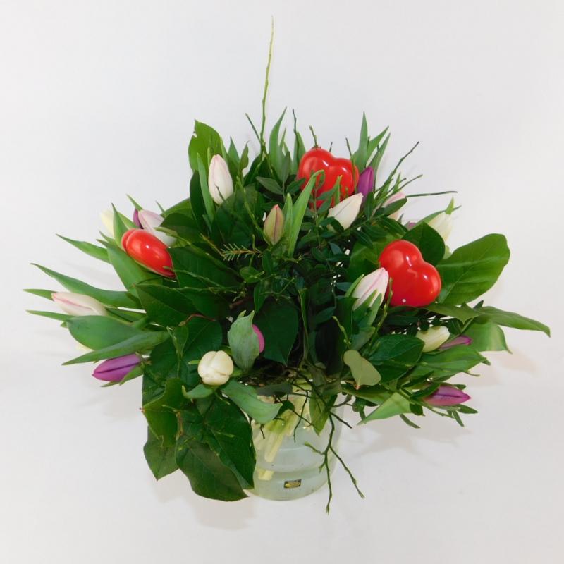 Tulpenboeket Abby roze-wit-paars + hartjes