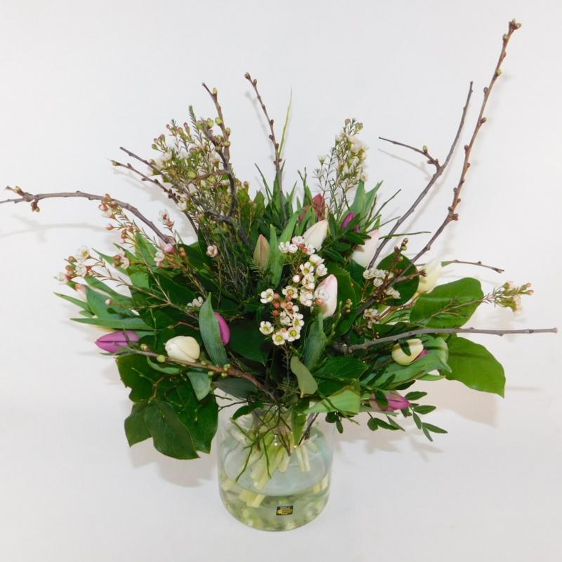 Tulpenboeket Jankel roze/wit/paars wild