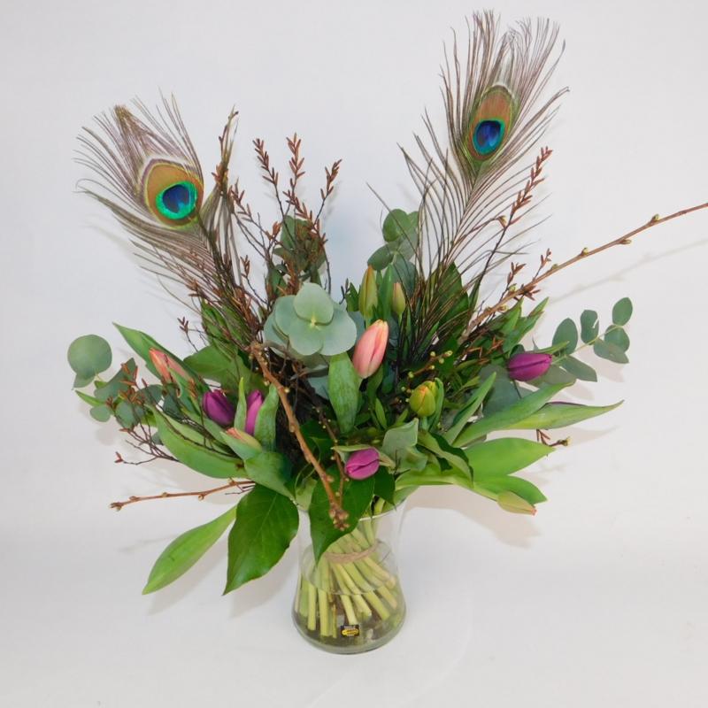 Tulpenboeket Tjitske bont pauwenveer